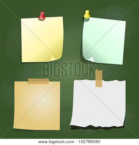 Set of Color paper sticky for notes, with clip and pin elements, on greenboard background - vector illustration