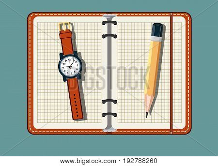 Office stuff with notepad and watch on a background . A top view shot . Flat design notepad with place for text.