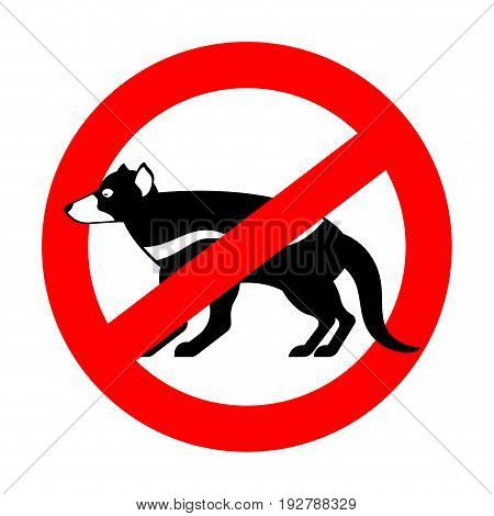 Stop Tasmanian Devil. Wild Animal Is Forbidden. One Hundred Beast. Red Prohibitory Road Sign