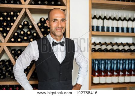 Happy mature sommelier in restaurant standing near wine bottles and looking at camera. Portrait of handsome smiling man working in wine shop. Smiling seller wearing uniform and standing in a winery.