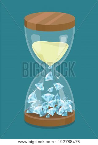 Vector hourglass with sand and diamonds. Time is money.