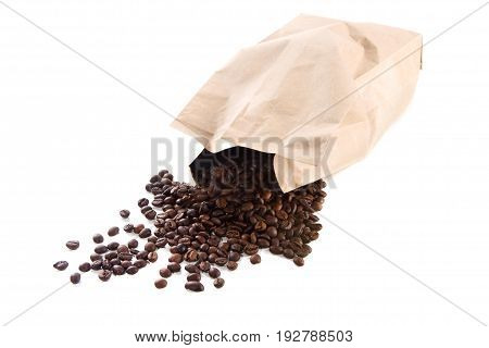 Paper Bag With Roasted Coffee Beans