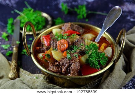 egetable stew with beef and parsley in a bronze pot