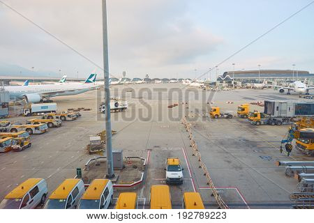 HONG KONG - CIRCA SEPTEMBER, 2016: view from Hong Kong International Airport terminal