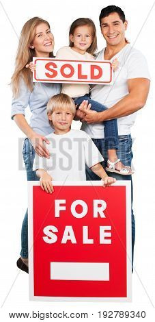 Sale sign family customer female young adult