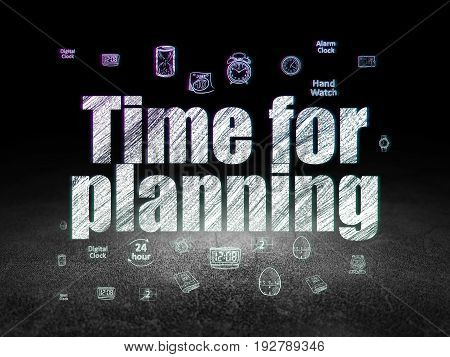 Timeline concept: Glowing text Time for Planning,  Hand Drawing Time Icons in grunge dark room with Dirty Floor, black background