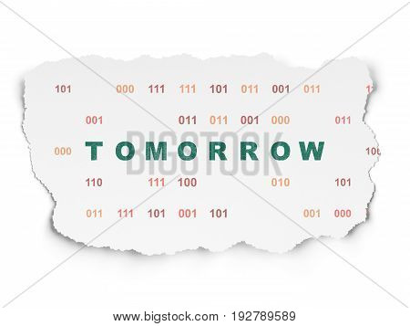 Time concept: Painted green text Tomorrow on Torn Paper background with  Binary Code