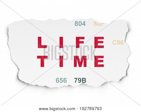 Time concept: Painted red text Life Time on Torn Paper background with  Hexadecimal Code