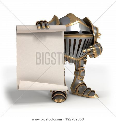 Cartoon knight gnome. The isolated image on a white background. 3D