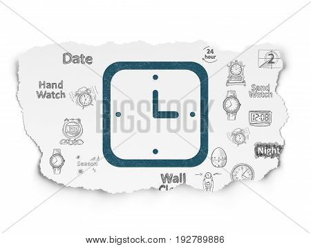 Time concept: Painted blue Watch icon on Torn Paper background with  Hand Drawing Time Icons