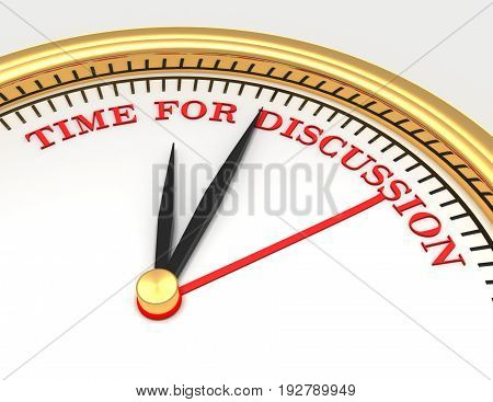 Clock with words time for dicussion on face