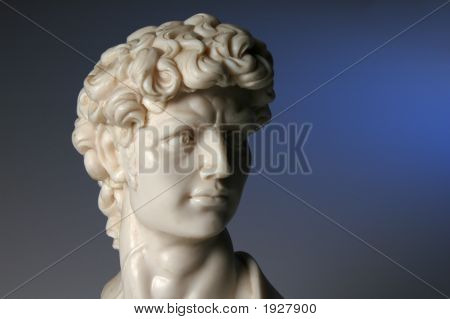 Replica Of David Over A Blue Background