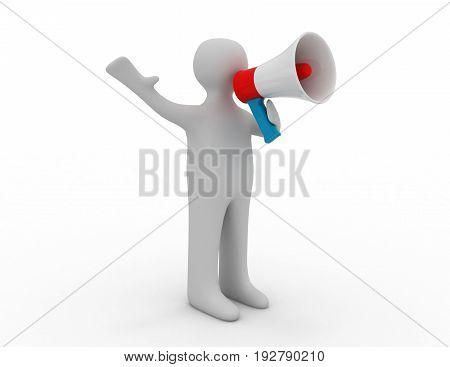 3d man with speaker . 3d rendered illustration