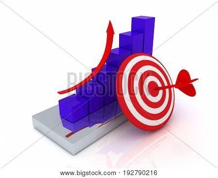 graph concept . success concept.  . 3d rendered illustration