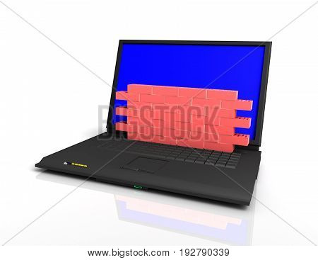 information protection concept laptop with brick wall . 3d rendered illustration