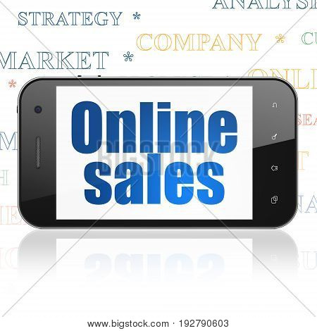 Marketing concept: Smartphone with  blue text Online Sales on display,  Tag Cloud background, 3D rendering