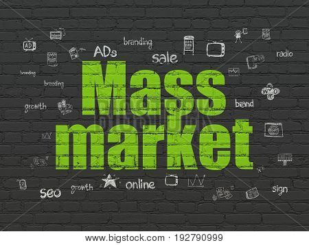 Advertising concept: Painted green text Mass Market on Black Brick wall background with  Hand Drawn Marketing Icons