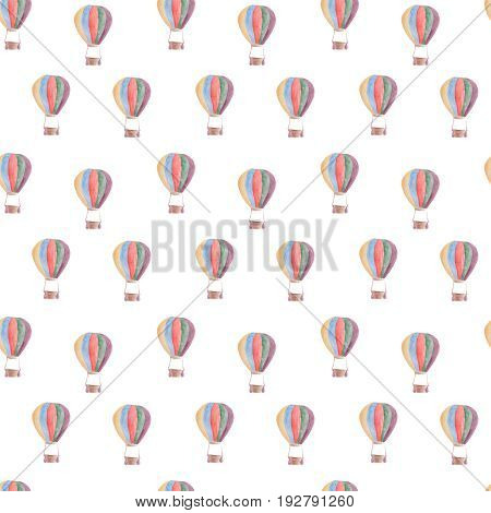 Watercolor pattern balloons seamless design on white background.
