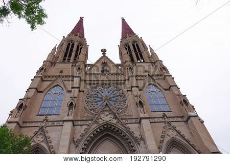 Cathedral of St. Helena has been a landmark in Montana's capital city (by the same name) since 1914. It displays Gothic Revival style architecture.