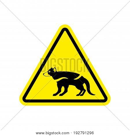 Attention Tasmanian Devil. Danger Is Wild Beast. Yellow Prohibitory Road Sign