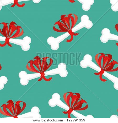 Dog Gift Bone With Bow Pattern. Present For Home Pet Background