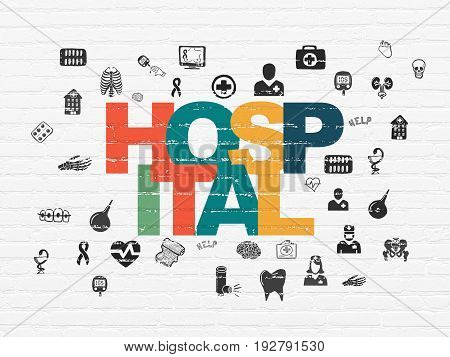 Health concept: Painted multicolor text Hospital on White Brick wall background with  Hand Drawn Medicine Icons