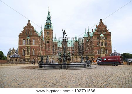 HILLEROD, DENMARK - JUNE 30, 2016: This is Frederiksborg Castle the residence of the Danish kings one of the masterpieces of the Scandinavian Renaissance.