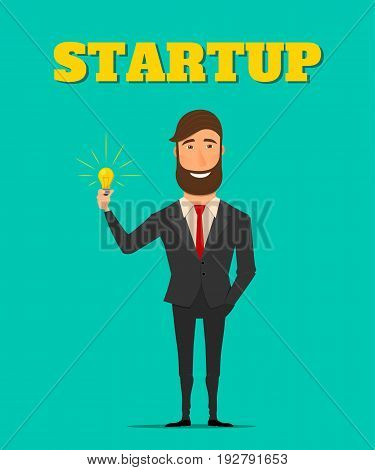 Businessman holding a light bulb. New idea for business. New idea for a startup. Vector illustration in flat style