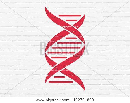 Healthcare concept: Painted red DNA icon on White Brick wall background