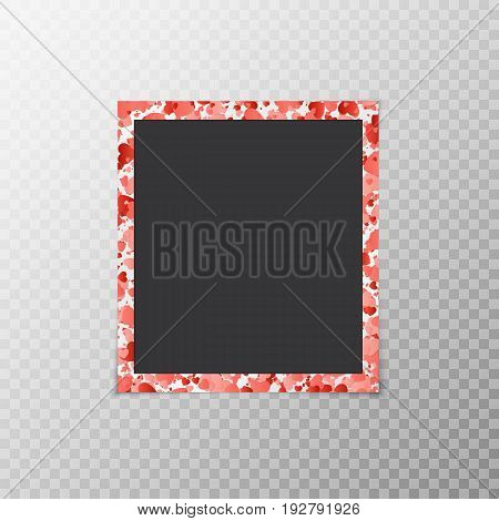 Photo frame with hearts of confetti on a translucent background