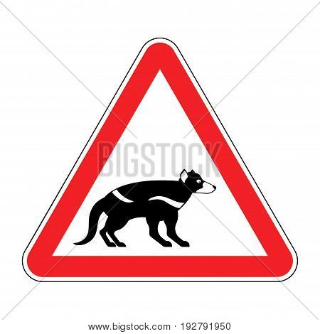 Attention Tasmanian Devil. Danger Is Wild Beast. Red Prohibitory Road Sign