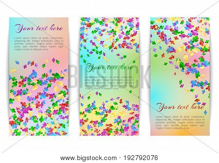 Set of vertical banners with bright falling confetti on a multicolor background