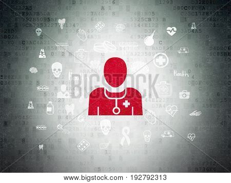 Medicine concept: Painted red Doctor icon on Digital Data Paper background with  Hand Drawn Medicine Icons