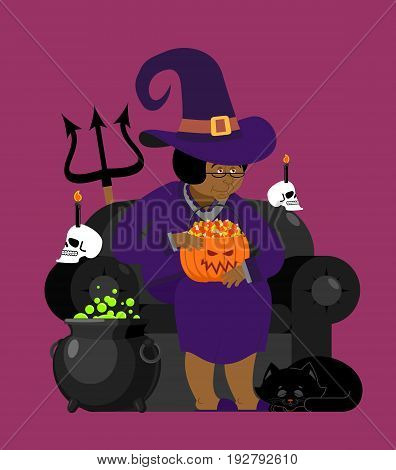 Witch African American With Black Cat. Halloween Character. Skull And Pot Magic Potion