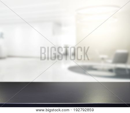 Table Top And Blur Office Of Background
