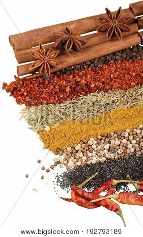 Herbs spices color red yellow group nature