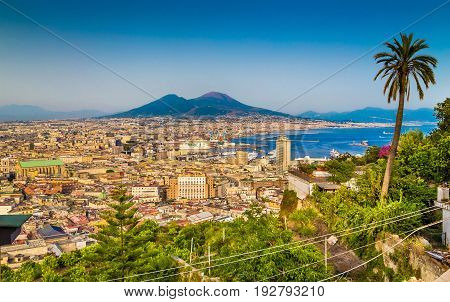 Aerial View Of Napoli With Mount Vesuvius At Sunset, Campania, Italy