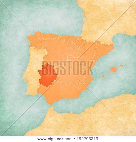 Map Of Iberian Peninsula - Extremadura