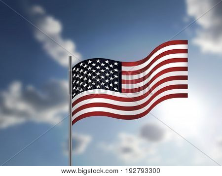 Realistic American Flag waving in the sky. illustration to Independence Day of USA. 3D illustration