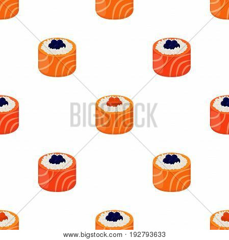 Sushi - rolls seamless pattern. Raw fish, caviar, rice and nori in sushi. Made in cartoon flat style
