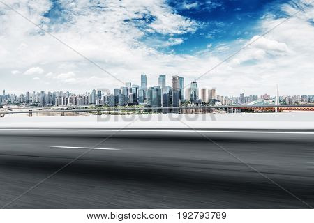 empty road with modern buildings in chongqing