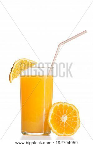 orange juice presented with fruit and sorbet ready to drink on white background