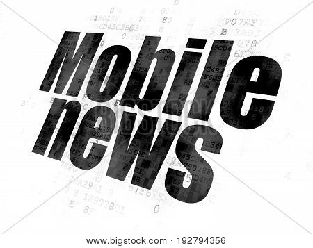 News concept: Pixelated black text Mobile News on Digital background