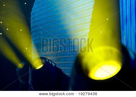 Stage blue and yellow lights - prepared for production and shooting - Light and smoke