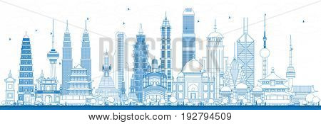 Outline Famous Landmarks in Asia. Business Travel and Tourism Concept. Image for Presentation, Banner, Placard and Web