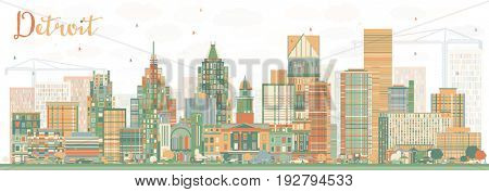 Abstract Detroit Skyline with Color Buildings. Business Travel and Tourism Concept with Modern Architecture. Image for Presentation Banner Placard and Web Site.