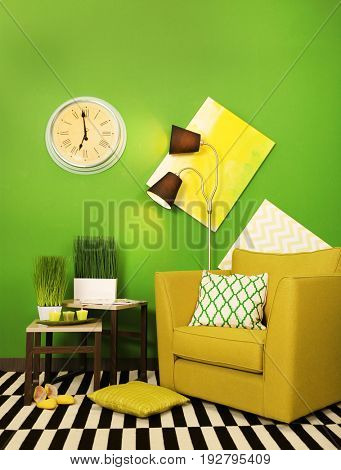 Green color in modern interior design