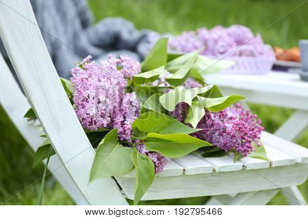 Beautiful lilac flowers on chair in garden