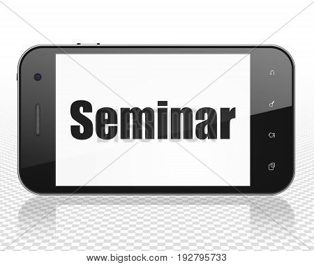 Studying concept: Smartphone with black text Seminar on display, 3D rendering