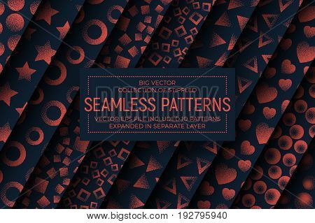 Collection of 10 Different Vector Abstract Stippled Seamless Patterns. Handmade Tileable Vintage and Retro Style Geometric Dotted Grunge Background. Design Element